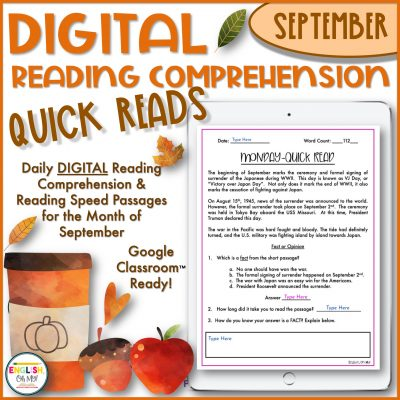 Digital Reading Comprehension Quick Reads